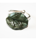 Anillo Magic Leaves- silvery green