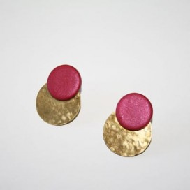 Pendientes Ceramics. Fuchsia and gold
