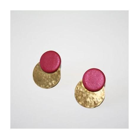 Pendientes Ceramics. Fuchsia and gold